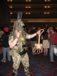 "Colonial marine with ""Facehugger"" alien."