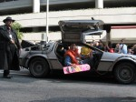 Marty McFly in a Back to the Future DeLorean