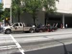 Klingon battle cruiser car getting towed