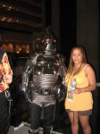 Cylon from Battlestar Galactica with fan